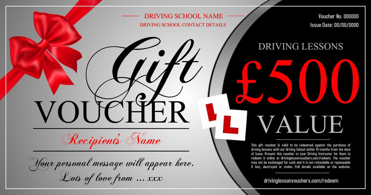 Driving Lessons Gift Voucher Template
